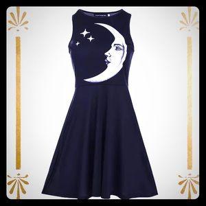 Moon Goddess Skater Style Black Dress